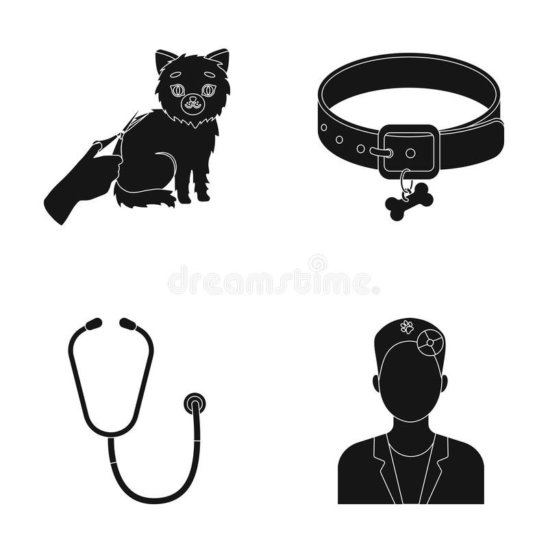 Collar Bone Cat Haircut T Clinic Set Collection Icons In Black