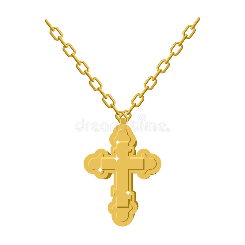 Collar cruzado de oro en la cadena de la joyería del oro crucifijo Orthodo ilustración del vector