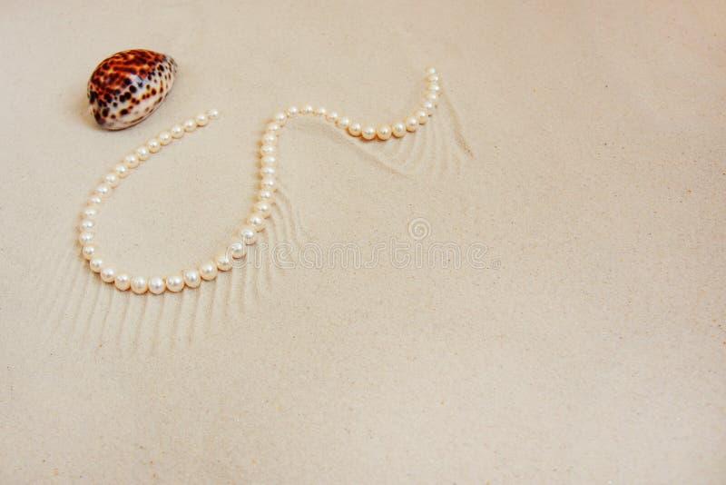 Collar de la perla en la arena fina blanca con la cáscara del mar Concepto de la boda del centro turístico de lujo, del océano o  imagen de archivo