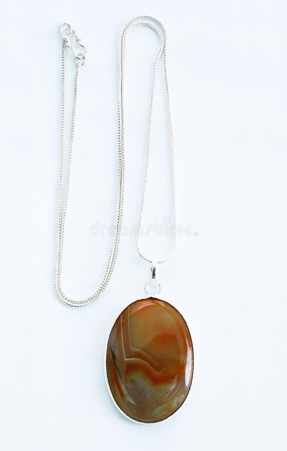 Collar de la plata de la piedra preciosa de Brown foto de archivo