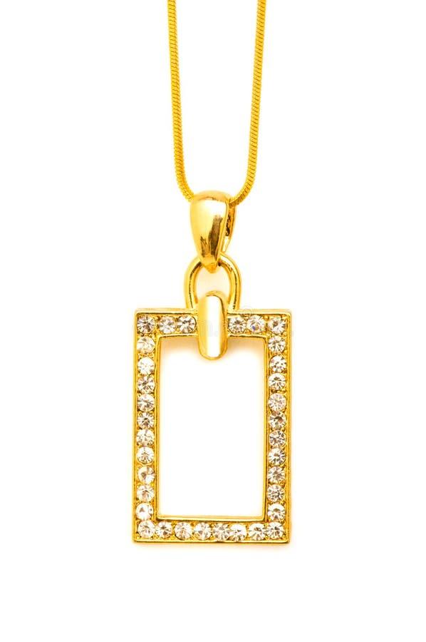 Collar de oro aislado foto de archivo