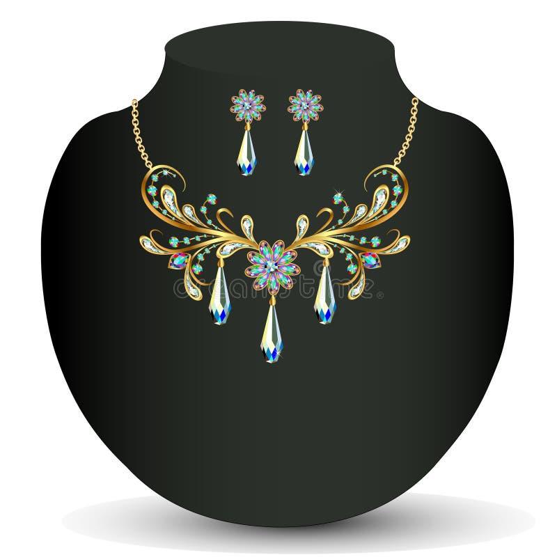 Collar de oro y la boda de las mujeres de los pendientes ilustración del vector