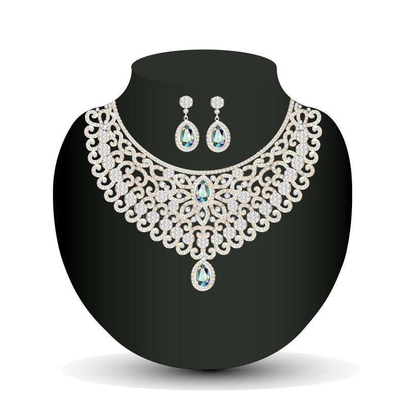 Collar de oro y pendientes femeninos con las piedras preciosas blancas stock de ilustración