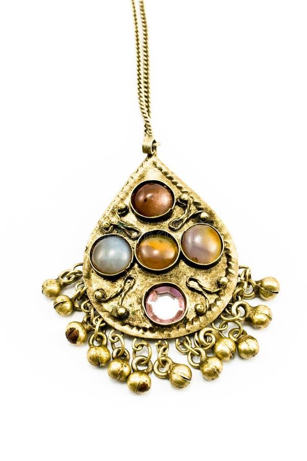 Collar de plata antiguo con las gemas foto de archivo