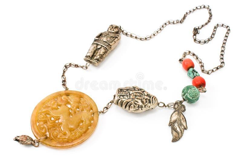 Collar de plata con jade fotos de archivo libres de regalías