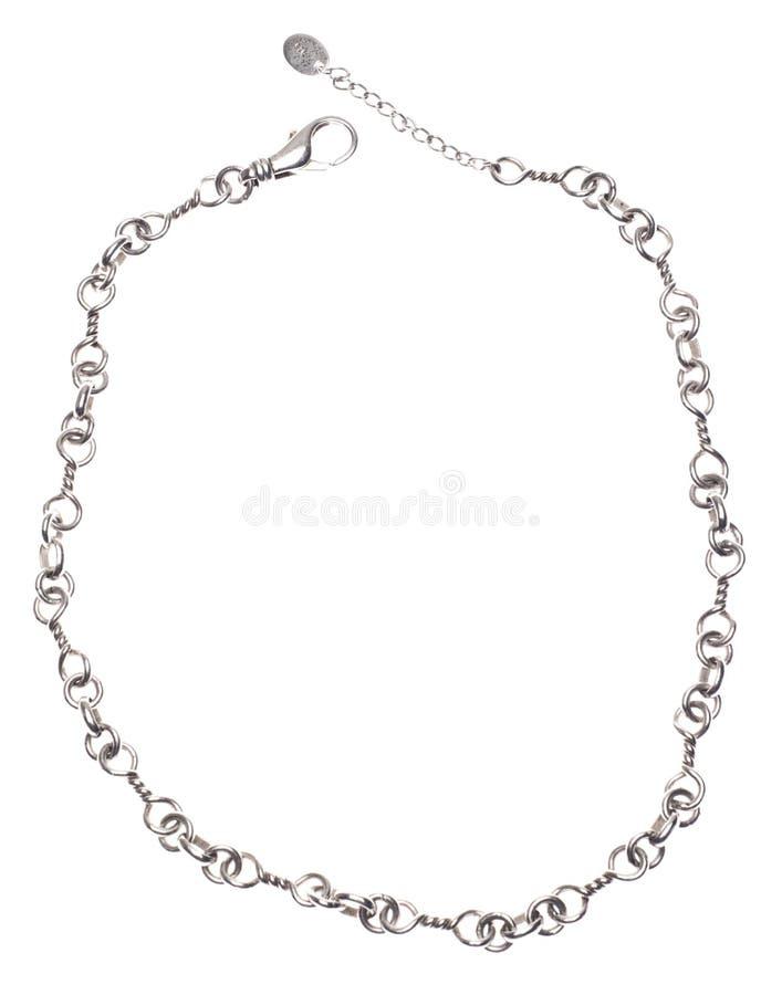 Collar de plata de la conexión de cadena foto de archivo