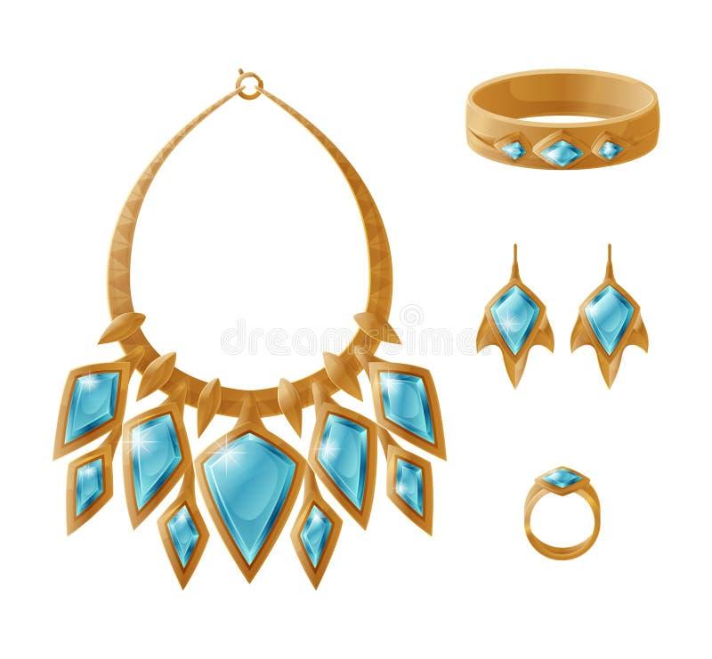 Collar determinado del oro de lujo, pendientes Ring Bracelet ilustración del vector