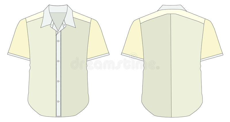 Download Collar Dress Shirt In Blue Yellow Color Tones Stock Vector - Illustration of loose, stitch: 16620354