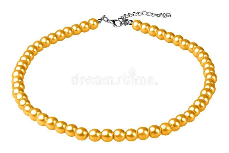 Collar elegante grande amarillo hecho de gotas redondas medianas como las perlas, artículo de la moda en la perspectiva, aislada  imagen de archivo libre de regalías
