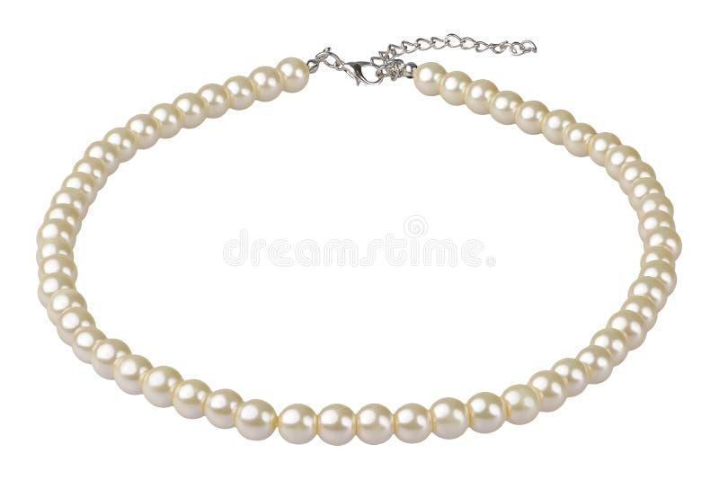 Collar elegante grande blanco hecho de gotas redondas medianas como las perlas, artículo de la moda en la perspectiva, aislada en fotos de archivo
