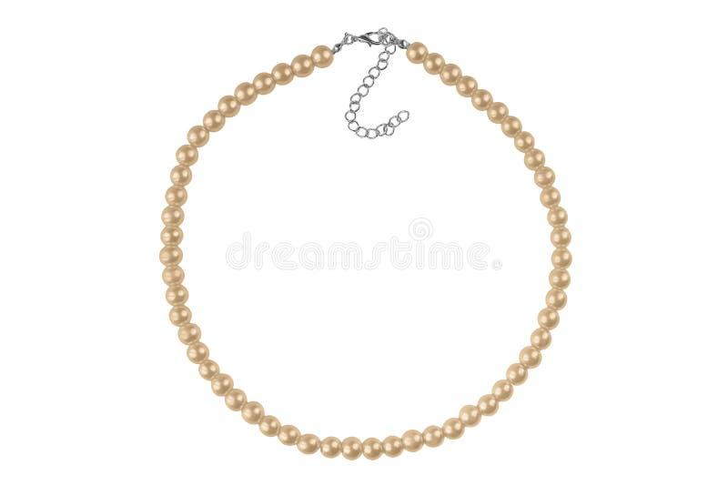 Collar elegante grande de bronce oscuro hecho de gotas redondas medianas como las perlas, artículo de la moda aislado en el fondo imagenes de archivo