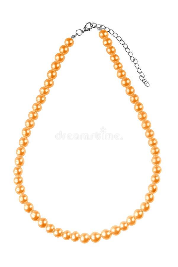 Collar elegante grande de oro hecho de gotas redondas medianas como las perlas, artículo de la moda aislado en el fondo blanco, t fotografía de archivo libre de regalías