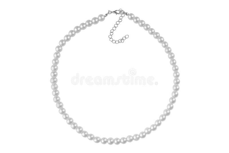 Collar elegante grande plateado hecho de gotas redondas medianas como las perlas, artículo de la moda aislado en el fondo blanco, imagen de archivo