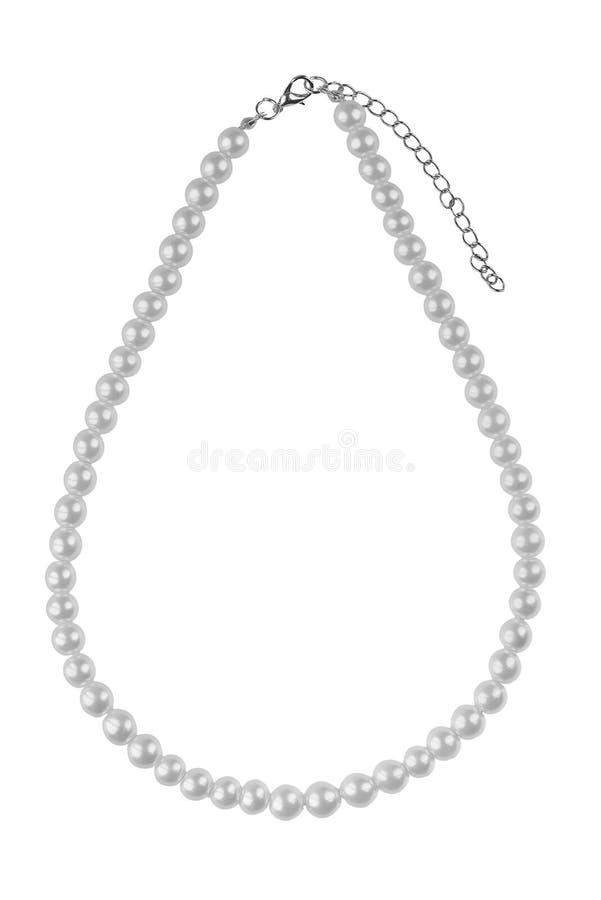 Collar elegante grande plateado hecho de gotas redondas medianas como las perlas, artículo de la moda aislado en el fondo blanco, fotografía de archivo