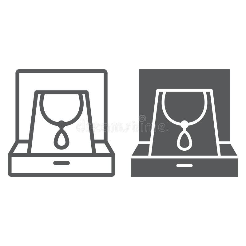 Collar en línea de la caja e icono del glyph, joyería y accesorio, caja de regalo con la muestra de la joyería, gráficos de vecto ilustración del vector