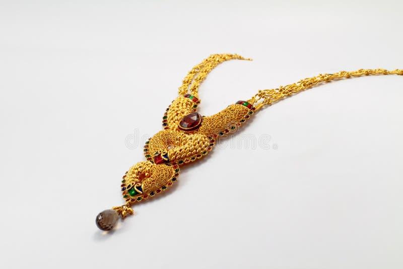 Collar indio del oro fotografía de archivo libre de regalías