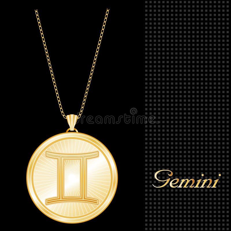 Collar pendiente de los géminis de oro (EPS+JPG) stock de ilustración