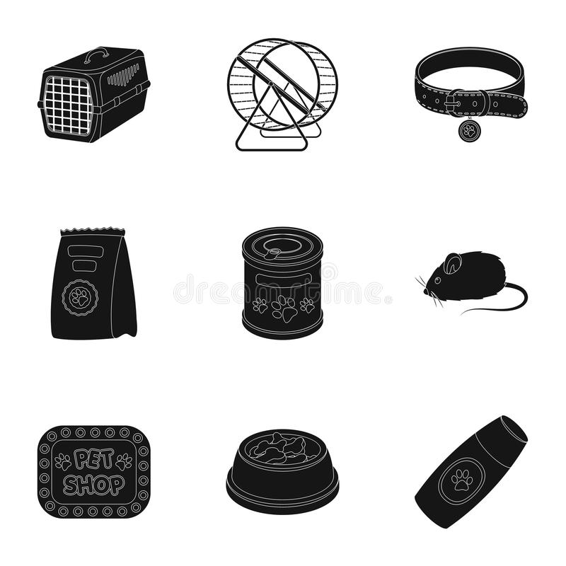 Collar, pet food and other products. Pet shop set collection icons in black style vector symbol stock illustration web. vector illustration