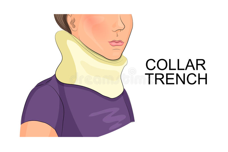 Collar trench. Illustration of a girl's neck in the collar of the trench royalty free illustration