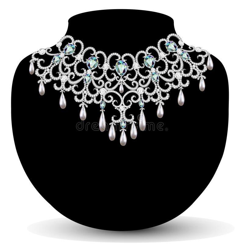 Collar y pendientes, casandose el diamante para mujer ilustración del vector