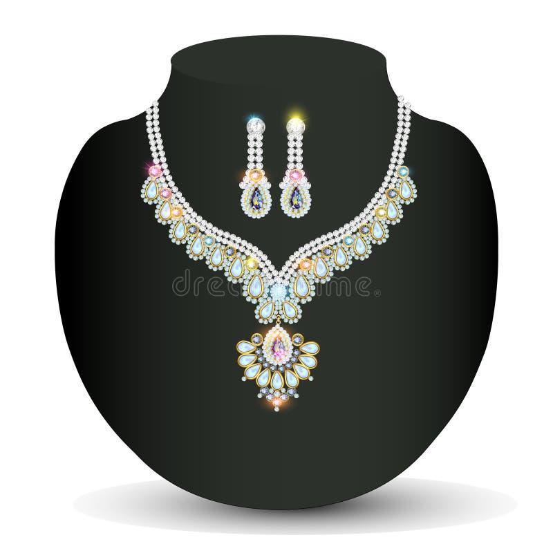 Collar y pendientes, casandose el diamante para mujer stock de ilustración