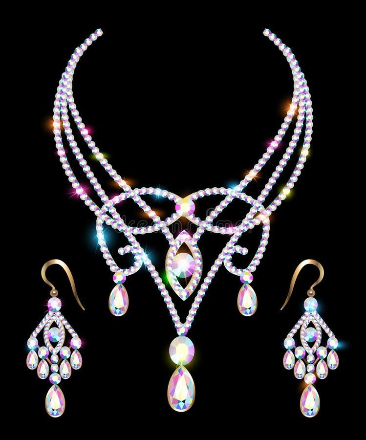 Collar y pendientes, casandose el diamante para mujer libre illustration