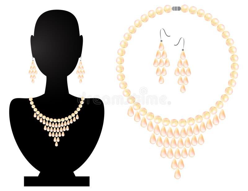 Collar y pendientes de las perlas libre illustration