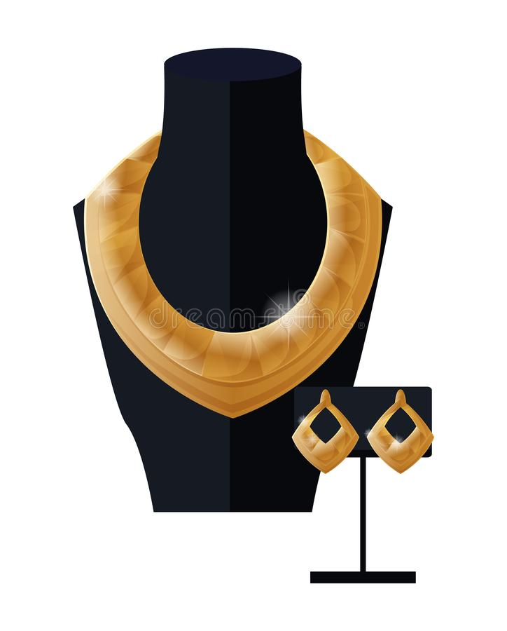 Collar y pendientes de oro determinados de la joyería en negro libre illustration