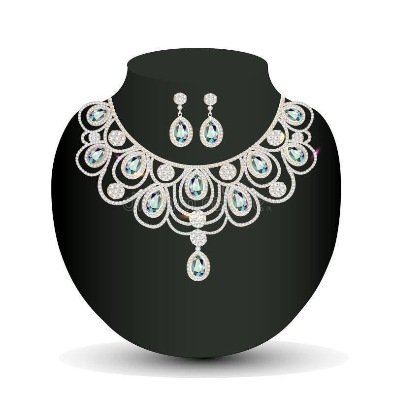 Collar y pendientes femeninos con las piedras preciosas blancas libre illustration