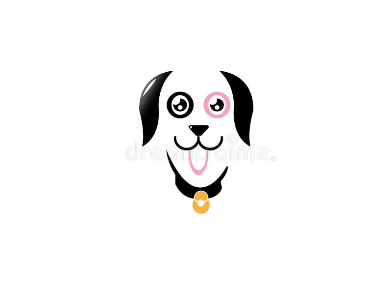 Collare d'uso del cane sveglio felice con le campane e di mostra lingua fuori per la progettazione di logo illustrazione vettoriale