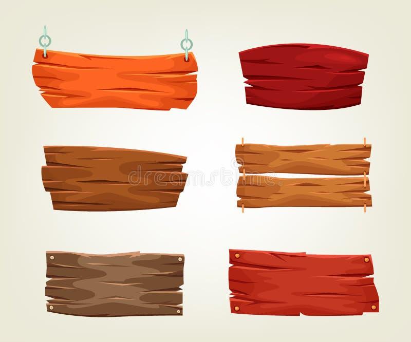 Collction dei modelli decorativi dei bordi di legno Illustrazione di vettore di vecchi modelli del legname royalty illustrazione gratis