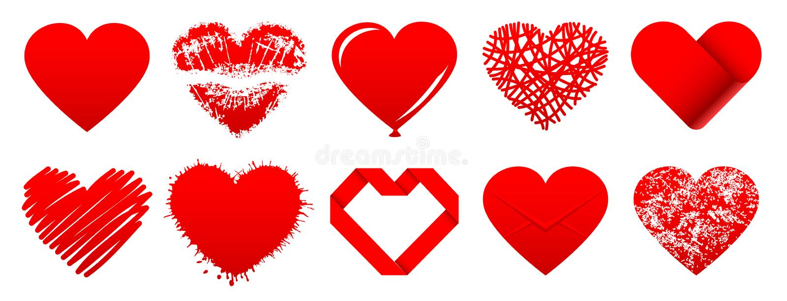 Ten Red Hearts Different Icons stock illustration