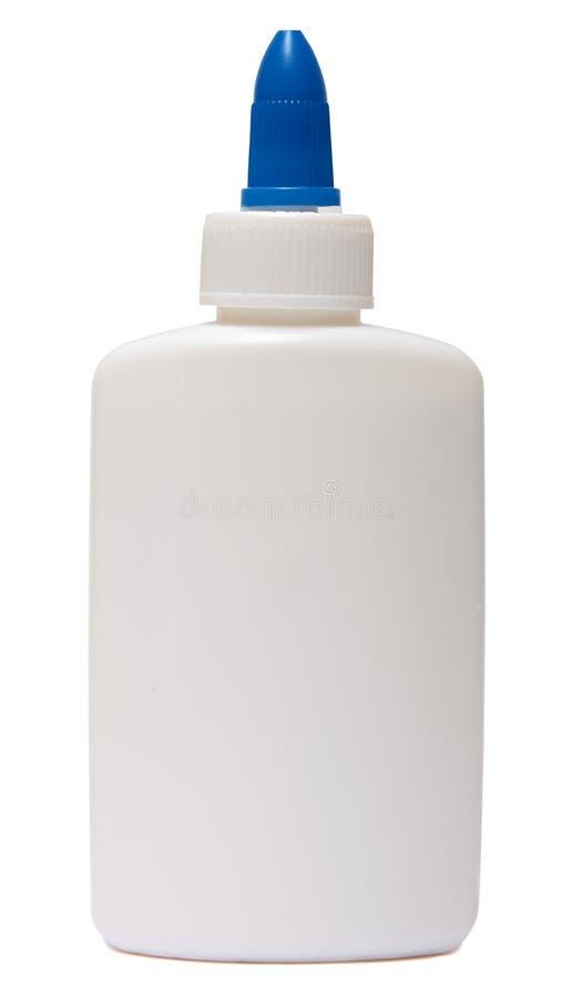Colle Bouteille en plastique d'isolement sur le fond blanc images stock