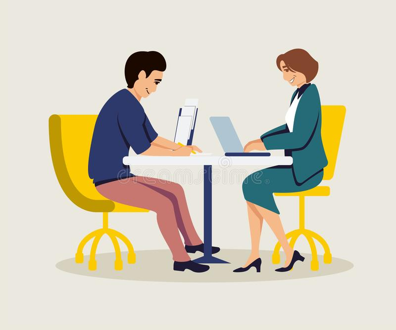 Colleagues coworking flat vector illustration stock illustration