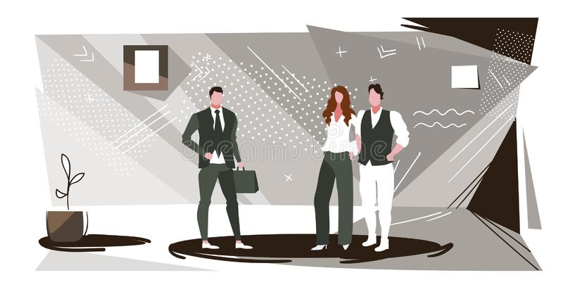 Colleagues discussing new project during meeting businesspeople team standing together business communication concept vector illustration