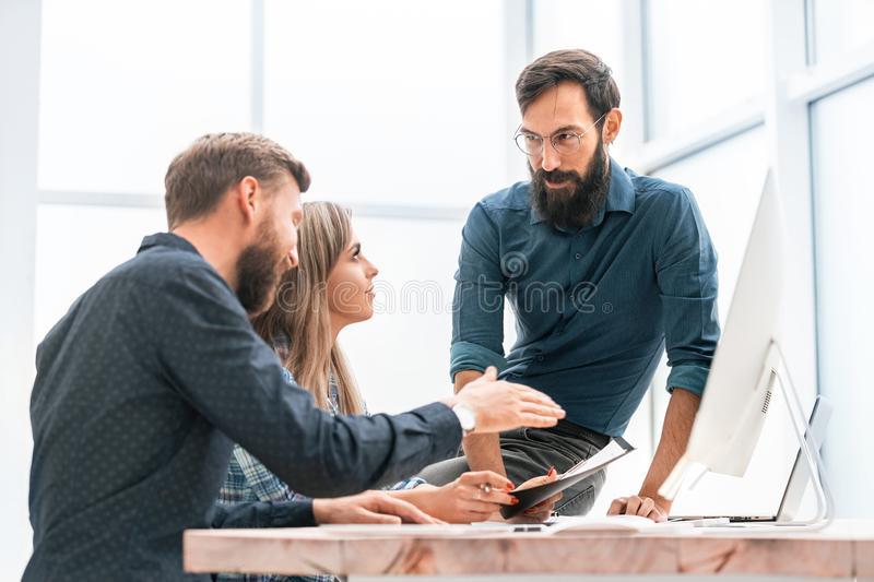 Colleagues extending their hands to each other for a handshake. Success concept royalty free stock images