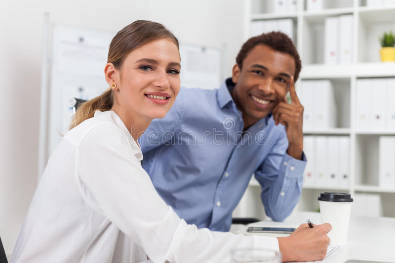 Colleagues in good mood stock image