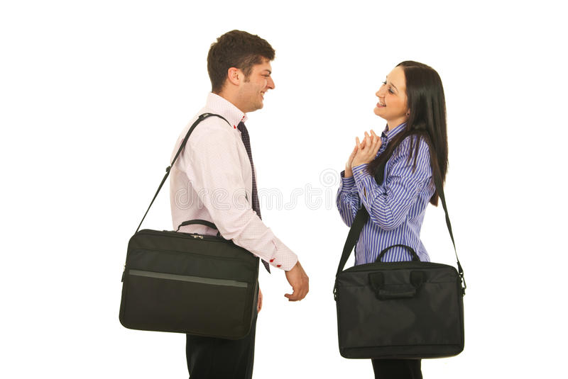 Download Colleagues Meet And Having Conversation Stock Photo - Image of look, business: 23422462