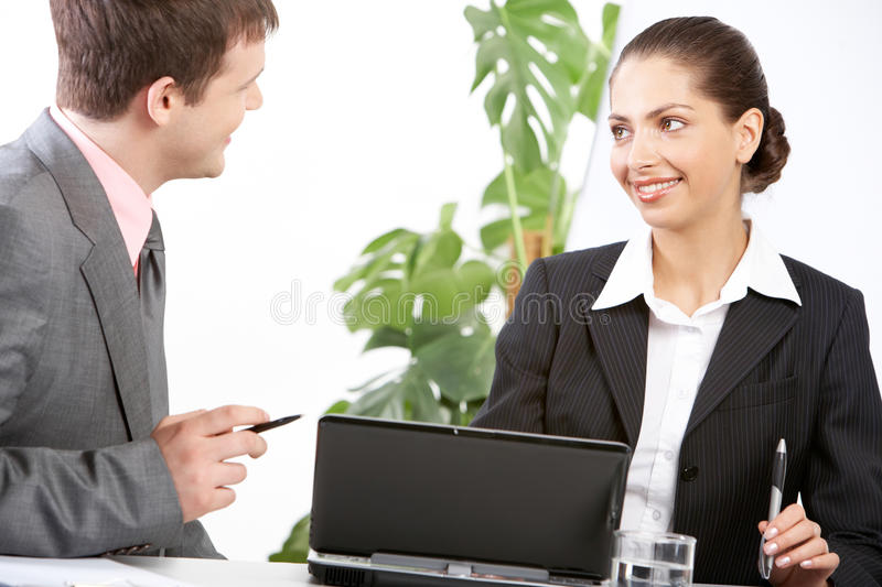 Colleagues at meeting stock photos