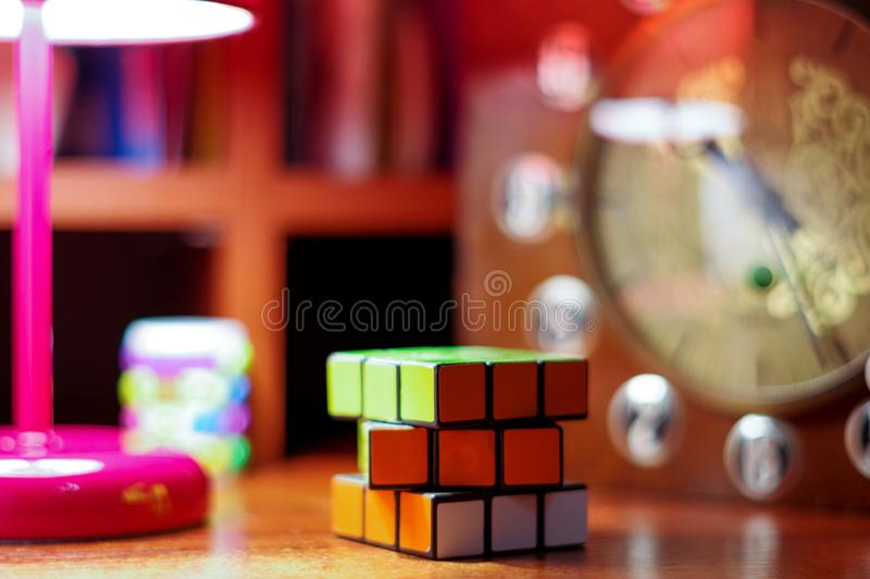 Collect the cube at a time. The game at a time. stock photo