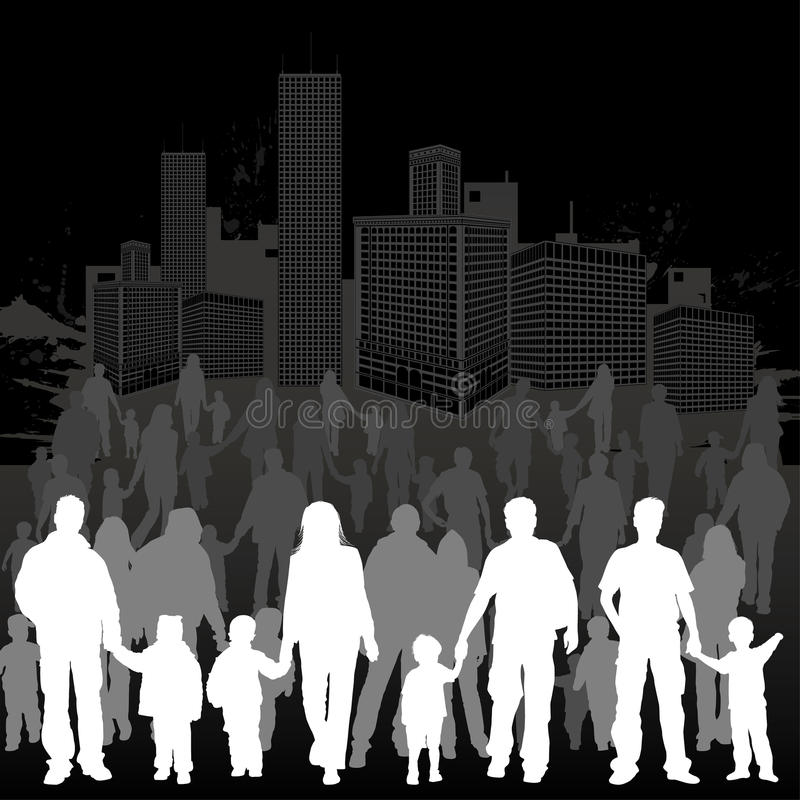 Collect family silhouettes stock image