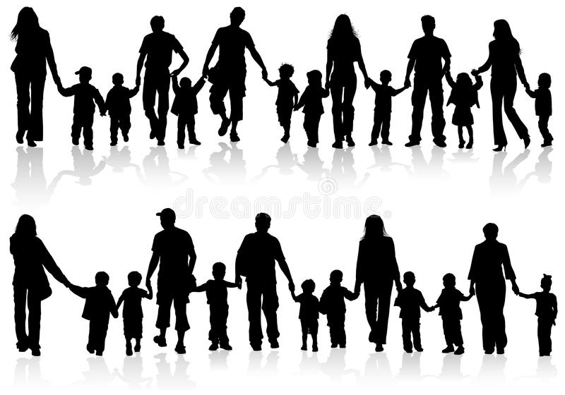 Collect family silhouettes vector illustration