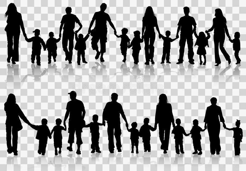 Collect family silhouettes royalty free illustration