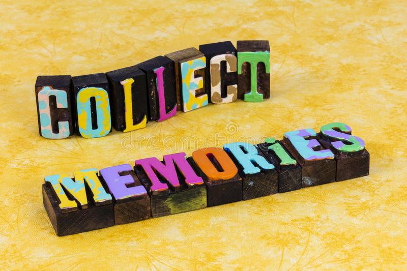 Collect memories vintage collection memory lane nostalgia recall bygone time. Collect beautiful memories vintage collection memory lane nostalgia recall bygone stock photo