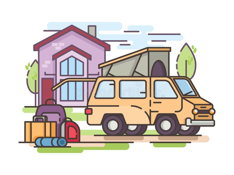 Van car for recreation or transfer. Collect things for recreation or transfer to large van. Vector illustration royalty free illustration