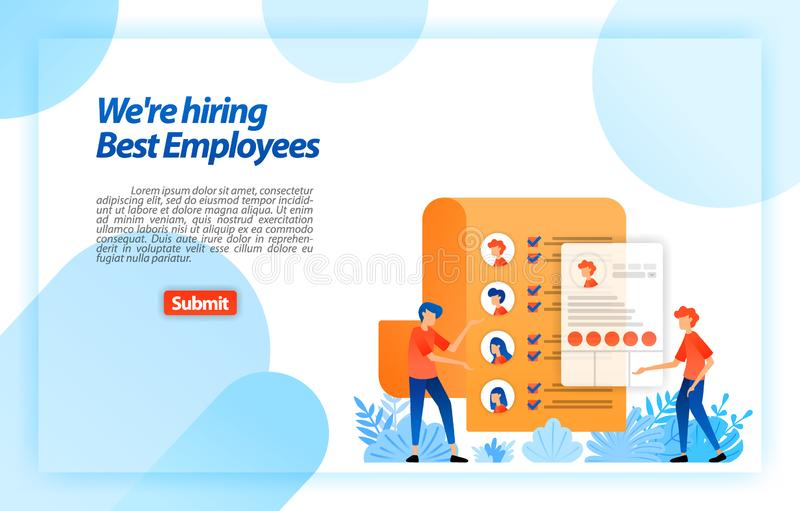 Collect worker personal data or job seeker resumes to recruiting best prospective employees. we`re hiring. vector illustration con stock illustration