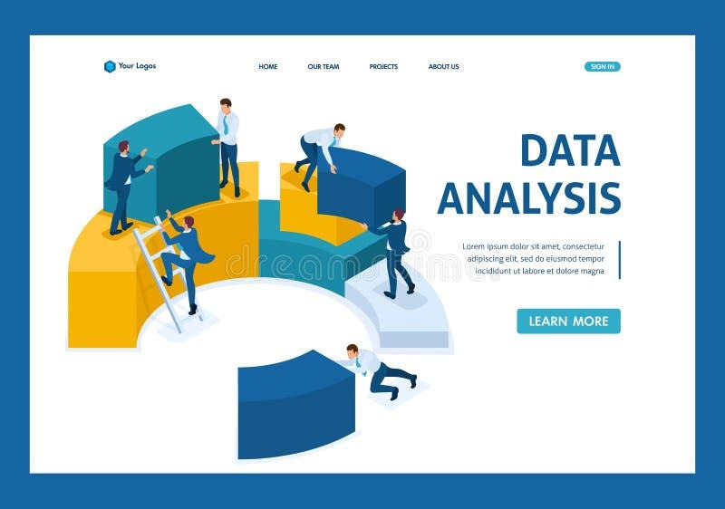 Collecte de données isométrique pour l'analytics, employés illustration stock