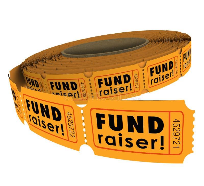 Collecteur de fonds 50 événement de charité de petit pain de billet de cinquante tombolas soulevant lundi illustration libre de droits