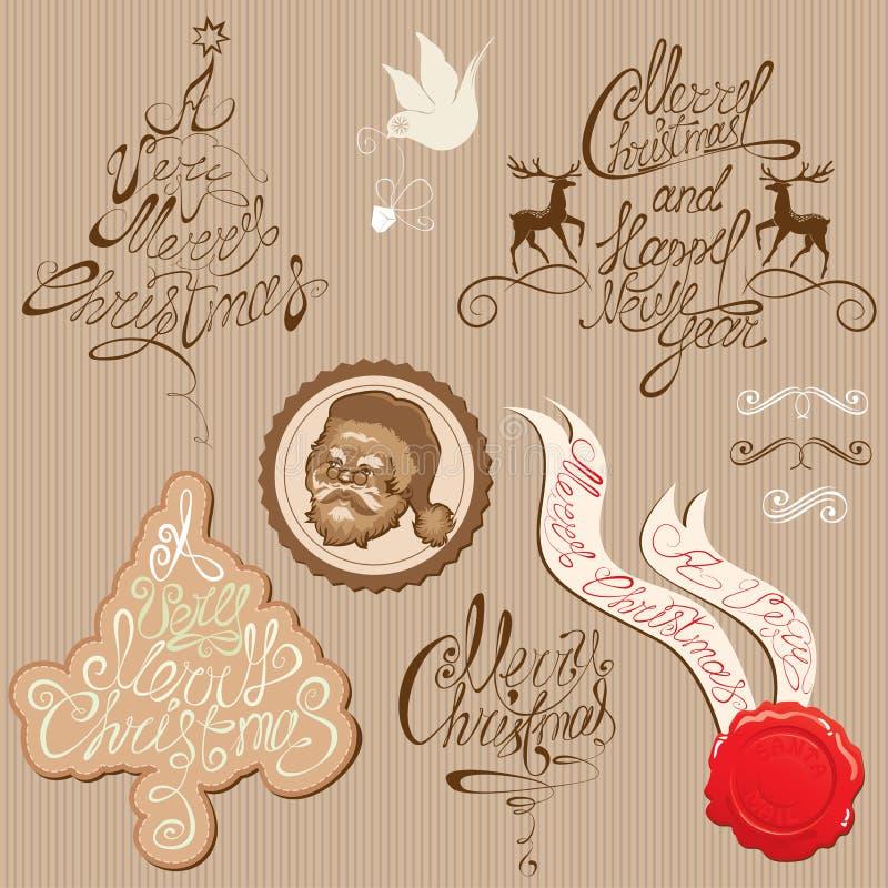 Collecti da decoração do vintage do Natal e do ano novo ilustração do vetor