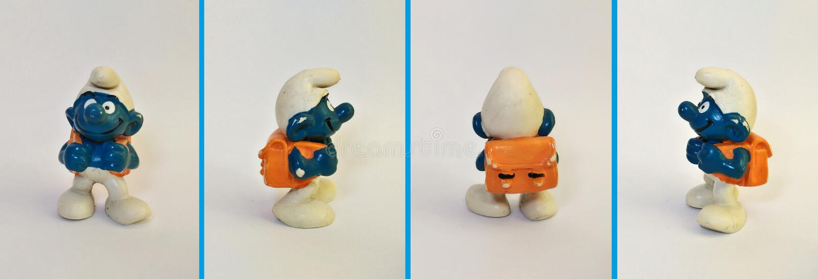 Collectible leksaker: Skolpojke Smurf! royaltyfria bilder